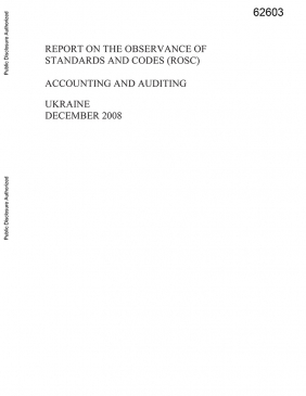 Ukraine Accounting and Auditing Report on the Observance of Standards and Codes cover